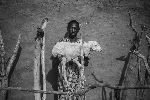 Mouhamed Oudd, de 36 años muestra su única propiedad, una oveja.