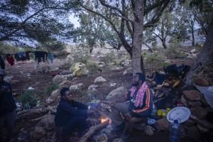 Amina y su marido Fade, en el campamento del monte Gurugú.