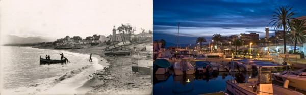 Puerto de Marbella, Málaga en el año 1965 y en el 2010
