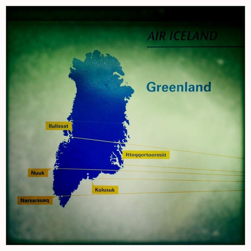 Mapa de Groenlandia. La primera parada de nuestros expedicionarios es Kulusuk.