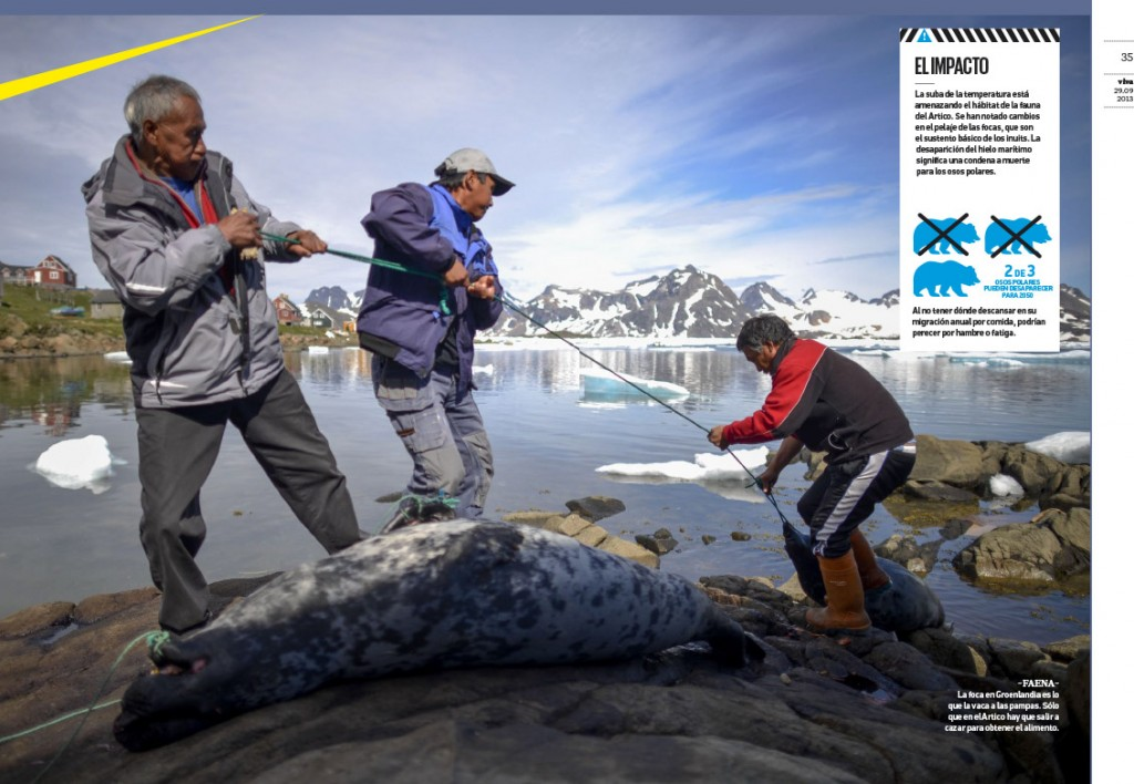 Pulsando sobre la imagen se accede a la web creada por el diario argentino Clarín sobre este viaje Ártico con imágenes de Calamar2/Pedro ARMESTRE