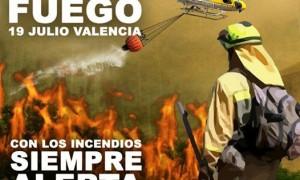 Cartel de la marcha Marea de Fuego del 19 de julio en Valencia