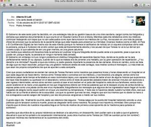 "Mail que Alberto di Lolli nos envía anoche con permiso para transcribirlo en calamar2. Pulsa sobre la imagen para leer ""Ébola: Siete días de crisis, siete días de errores"""